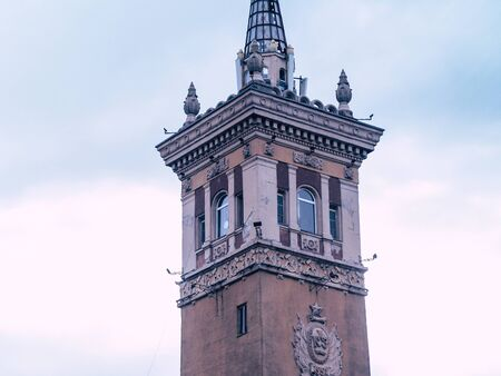 old beautyfull tower in the city center with a spire