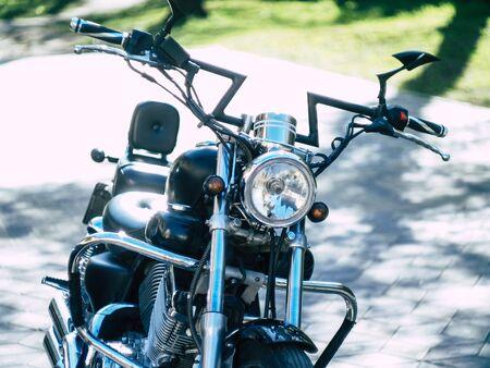 a motorcycle glistens in the sun Archivio Fotografico