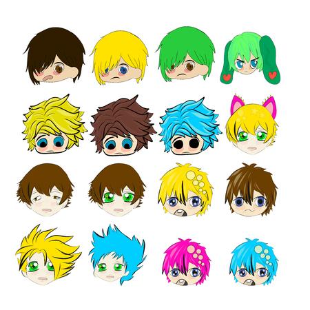 chibi: Sad crying cute chibi boys faces anime illustration Stock Photo