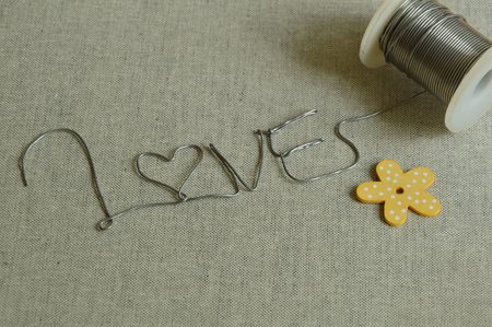 wire pin: Love word form wire