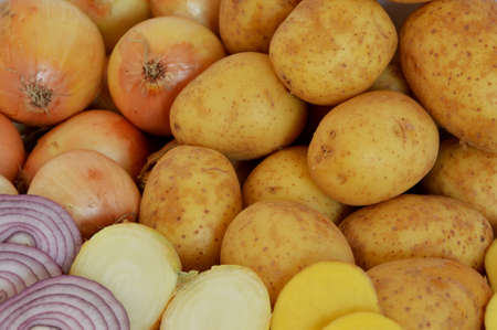 cleave: Potatoes and onions Stock Photo