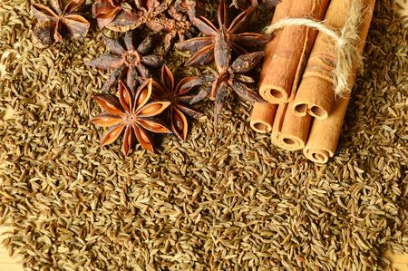 cumin: Cumin seeds with spices