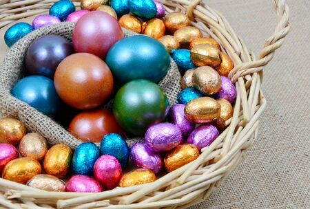 Colorful egg and chocolate for Easter in basket