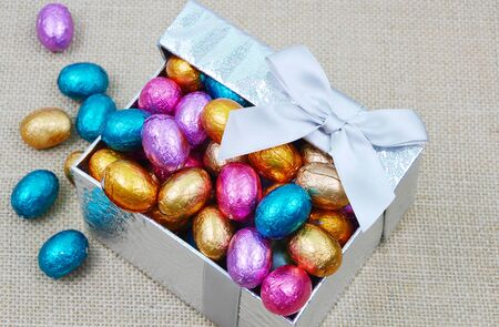 colorful chocolate and egg in a gift box for Easter
