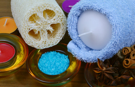 soak: Relax with a soak and scrub. Stock Photo