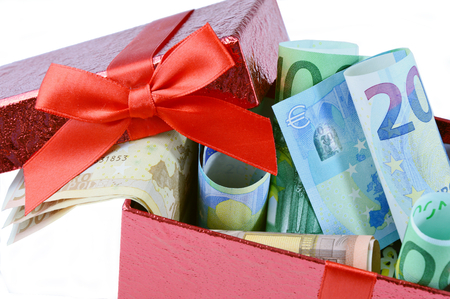 Euro banknote money gift on red box