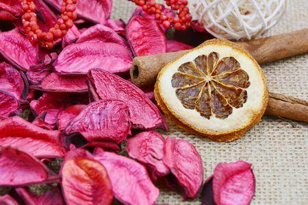 potpourri: dried orange and red potpourri