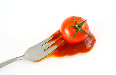 tomato catsup: Tomato and ketchup with white background. Vegetables and condiment did people around the world know and use it.