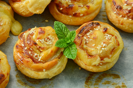 Easy puff pastry menu. Bacon & Cheese Puff Pastry Rolls. Stok Fotoğraf