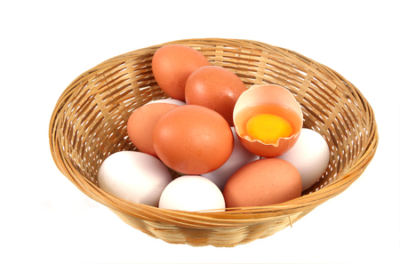 selenium: Eggs in basket with white background. Health Benefits of Eating Eggs.