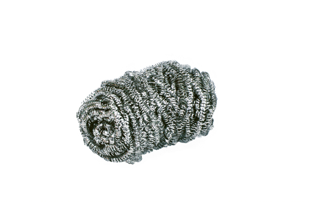 metal filament: A steel wool dish washing on a white background Stock Photo
