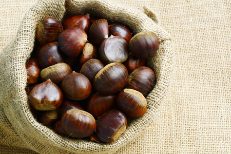 Castanea sativa or sweet chestnut in sack bag on sack background. Stock Photo
