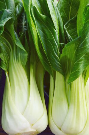 Bok choy nutrition facts and health benefits on wooden background.