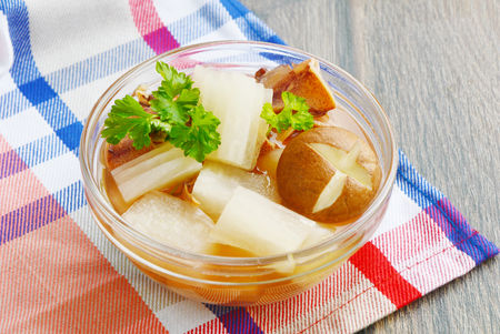 Soup with radish and dried squid is Thailand traditional food