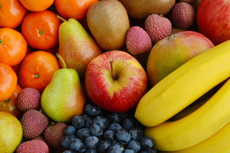 Mixed of many types of fruits
