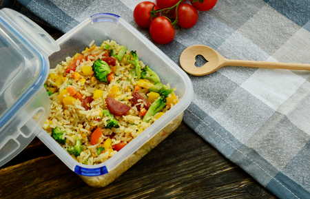 Fried rice in lunch box for eat at office or picnic
