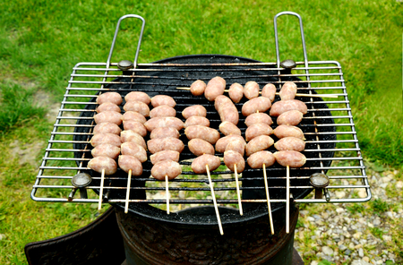 Grilled Pork and RiceThai sausage in the garden in summer season Stock Photo