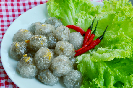 Tapioca balls with pork filling Thai menu 免版税图像
