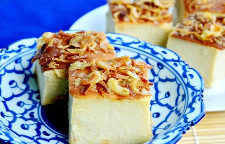 Thai dessert menu on wooden background