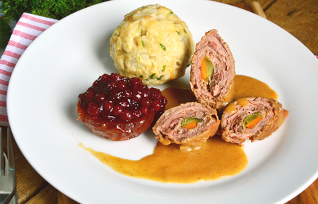 Beef roulade with bread dumpling (German name is beef roulade with breadcrumbs)