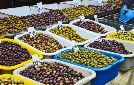 Mixed and A lot of Pitted Olives at the Central Market of Athens