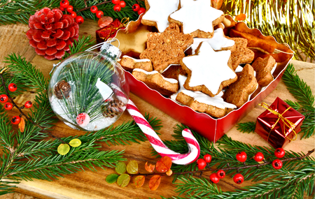 Cinnamon Stars (German name is Zimtsterne) German Christmas Cookies Stock Photo