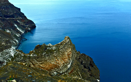 Thira mountain Santorini Greece with Aegean Sea.
