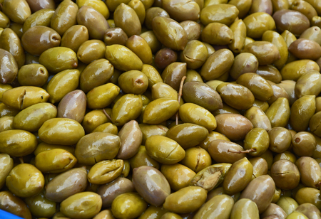 Pitted green Olives at the market at Athens Greece.