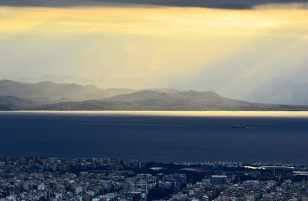 Athens Greece on evening with sunset.