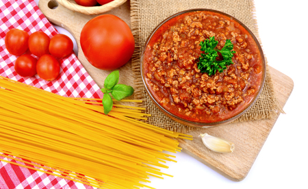 Bolognese Sauce with Spaghetti and tomatoes.