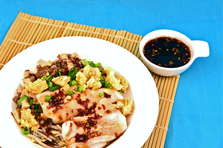 Steamed Rice Noodle roll or rice noodle paste with bean sprout with many topping and black sweet sauce.