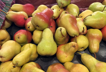 Many pears in supermarket for sell