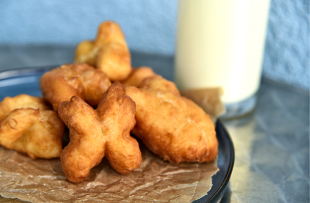 Homemade Youtiao or Chinese fried churros  and and fried bread stick with soy milk are breakfast of asian