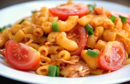 Easy Thai Style Stir Fried Macaroni with Ham.children menu with Macaroni. Stok Fotoğraf