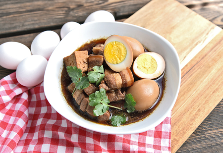 Thai Stewed Pork & Eggs with Five Spices (Thai name is Kai Pa Lo) .Famous Thai egg menu. Stok Fotoğraf