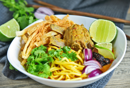 Chiang Mai Curry noodle soup with pork spare ribs Northern Thai food menu.