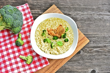 Broccoli Risotto topping with broccoli and rye bread grill.