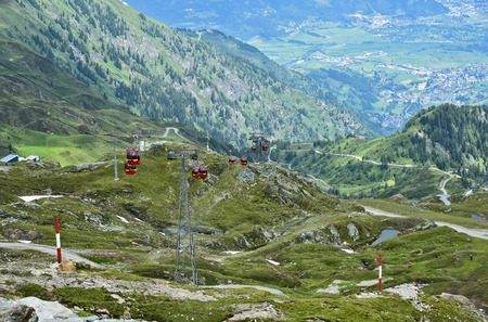 Kitzsteinhorn summit world 3000 Austria top view in summer with cable cars.Travel in Salzburg Austria
