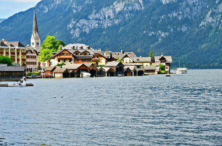 Hallstatt Austria vintage home and lake