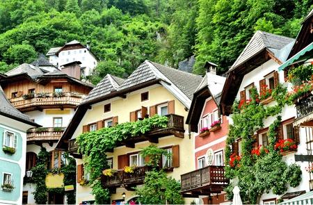 Hallstatt old town in Salzkammergut Austria. Banco de Imagens