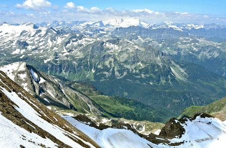 Kitzsteinhorn summit Welt 3000 Austria top view in summer with snow Mountain and Cloud.