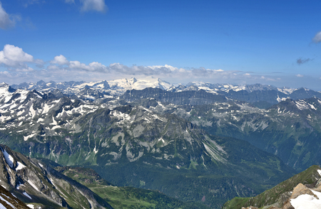 Kitzsteinhorn summit Welt 3000 Austria top view in summer with snow Mountainand Cloud .Travel in Salzburg Austria.