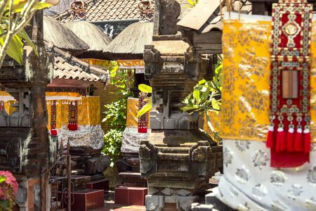 look inside: Balinese Temple Decorated for a Ceremony. Look inside the Bali temple on a ceremony day