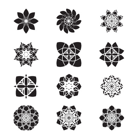 Set of graphic flowers, Set of vectorized flowers, Flower icon set, floral design elements, vector illustration