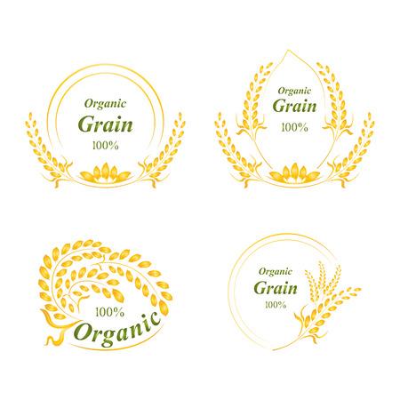 ロゴ、シンボル、穀物有機天然物、概念ベクトル図を米します。  イラスト・ベクター素材