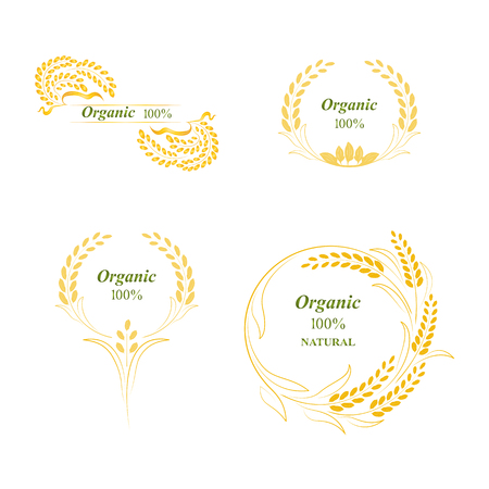 Rice, symbol, grain organic natural product, concept vector illustration