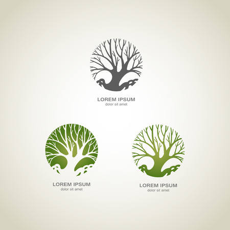 グリーン ツリーのロゴ。グリーン サークル ツリー ベクトルのロゴのデザイン。創造的な概念。エコロジー デザインの背景。ベクトルの図。 写真素材 - 38970068