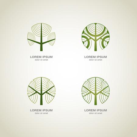 グリーン ツリーのロゴ。グリーン サークル ツリー ベクトルのロゴのデザイン。創造的な概念。エコロジー デザインの背景。ベクトルの図。