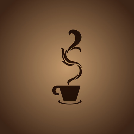 Cups with steaming fragrant coffee for cafe or restaurant  designcoffee and tea design elements Vector