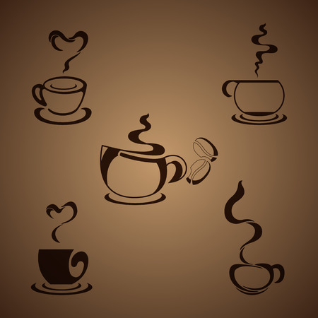 Cups with steaming fragrant coffee for cafe or restaurant logo designcoffee and tea design elements Vector